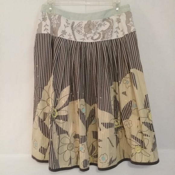 CAbi Dresses & Skirts - CAbi Brown yellow Floral Embroidered Skirt 6